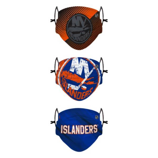 FOCO Youth New York Islanders Adjustable 3-Pack Face Coverings product image