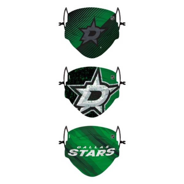FOCO Youth Dallas Stars Adjustable 3-Pack Face Coverings product image
