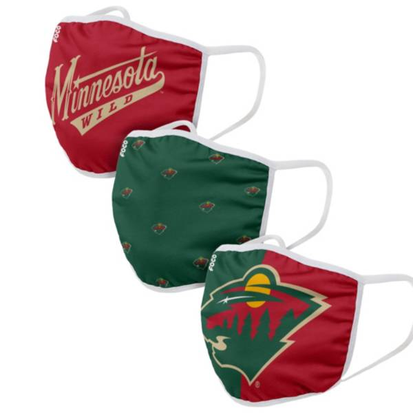 FOCO Youth Minnesota Wild 3-Pack Face Masks product image