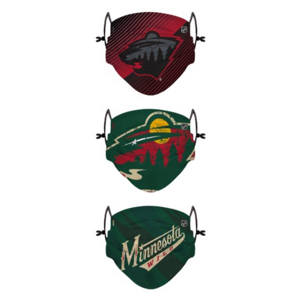 FOCO Youth Minnesota Wild Adjustable 3-Pack Face Coverings product image