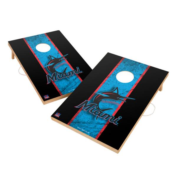 Victory Miami Marlins 2' x 3' Solid Wood Cornhole Boards product image
