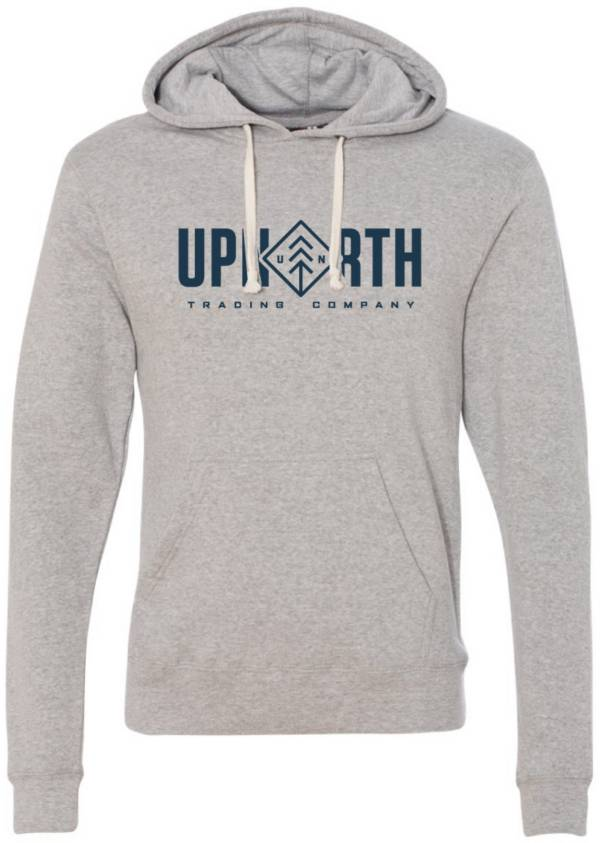 Up North Trading Company Men's Heathered Grey/Navy Diamond Text Hoodie product image