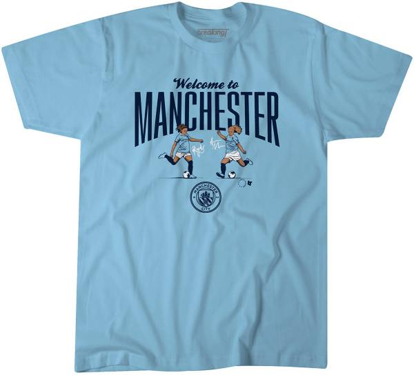 BreakingT Men's Welcome To Manchester Blue T-Shirt product image