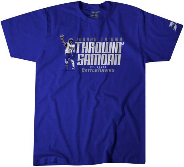 BreakingT Men's St. Louis BattleHawks Throwin' Samoan Royal T-Shirt product image