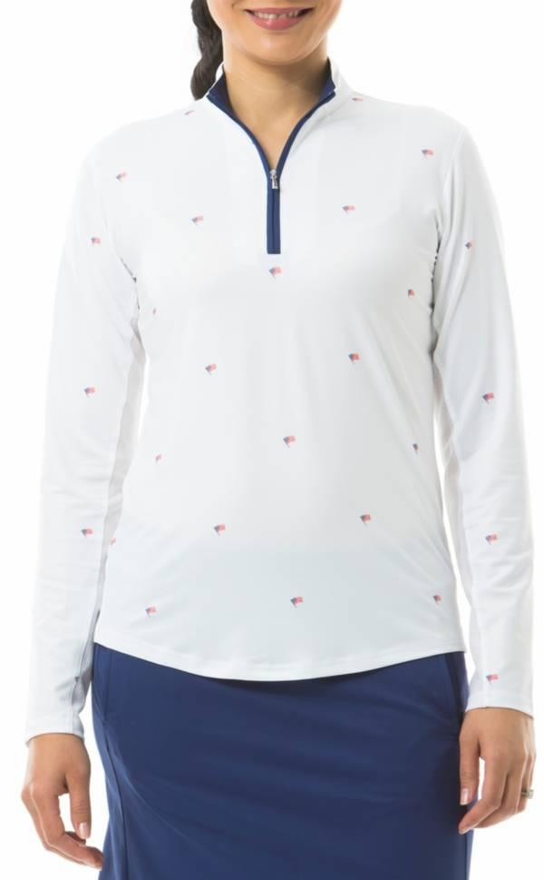 San Soleil Women's Solcool Print Mock Neck Long Sleeve Golf Shirt product image