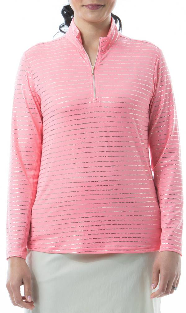 San Soleil Women's Solshine Foil Print Mock Neck Long Sleeve Golf Shirt product image
