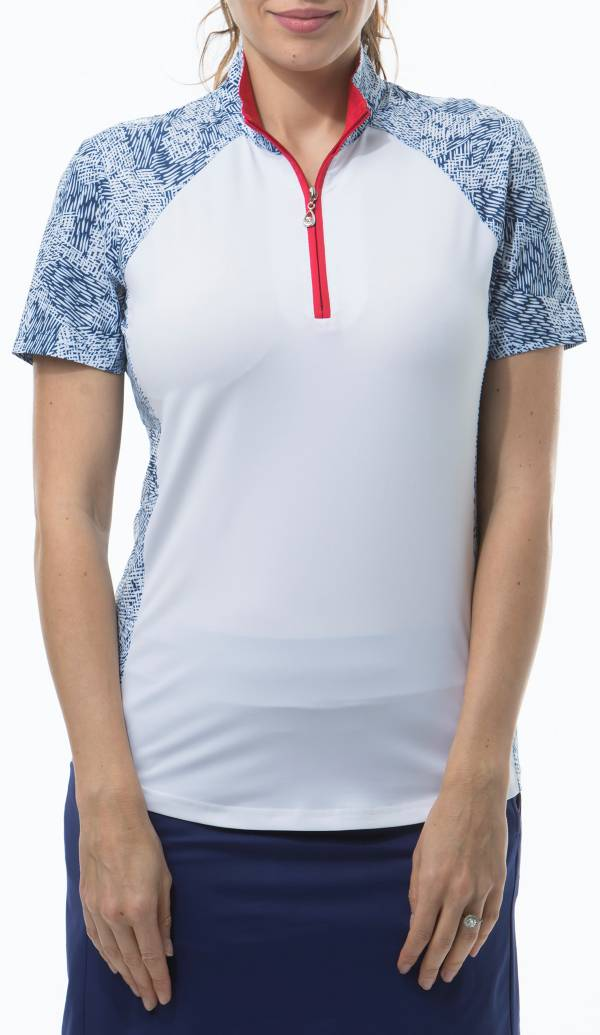 San Soleil Women's SolCool Mock Neck Color Block Golf Polo product image