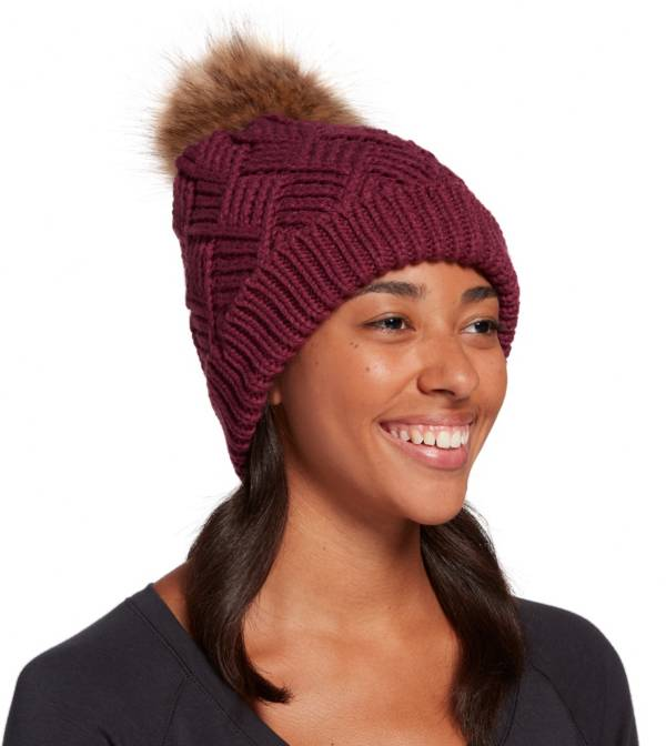 Northeast Outfitters Women's Cozy Diamond Weave Fur Pom Beanie product image