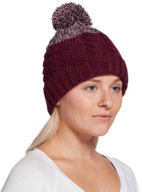 Northeast Outfitters Women's Cozy Two Tone Cable Pom Beanie product image