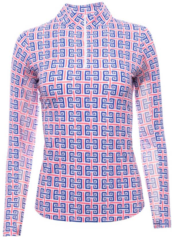 IBKUL Women's Geo Key 1/4 Zip Long Sleeve Mock Neck Pullover product image