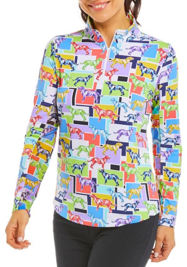 IBKUL Women's Long Sleeve Zip Mock Neck Golf Shirt product image