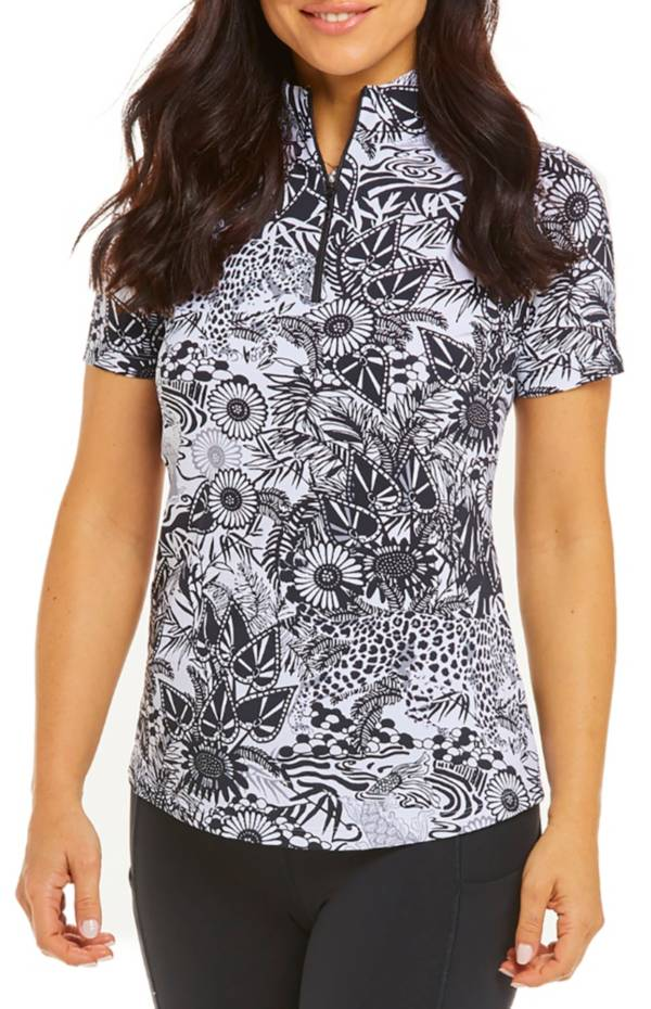 IBKUL Women's Short Sleeve Zip Mock Neck Golf Shirt product image