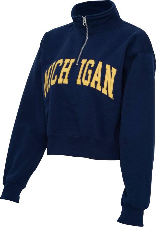 ZooZatz Women's Michigan Wolverines Blue Cropped Quarter-Zip Sweatshirt product image