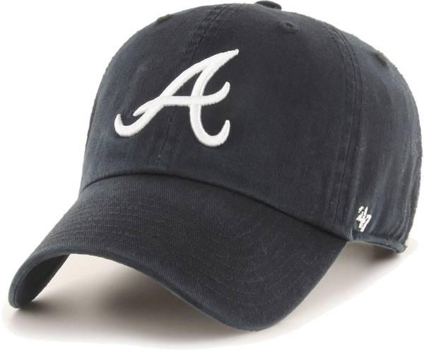 '47 Men's Atlanta Braves Black Clean Up Adjustable Hat product image