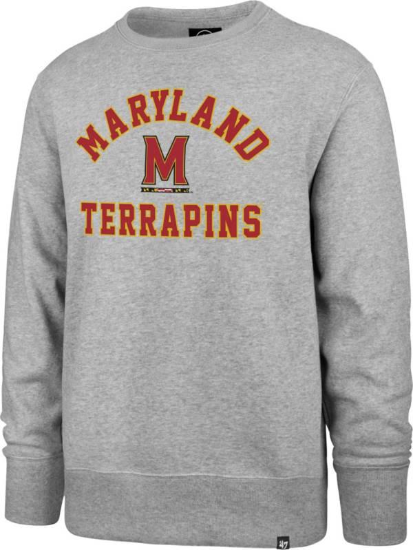 '47 Men's Maryland Terrapins Grey Headline Crew Pullover Sweatshirt product image