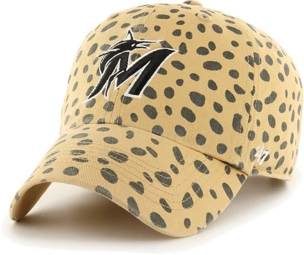 '47 Women's Miami Marlins Tan Cheetah Print Clean Up Adjustable Hat product image