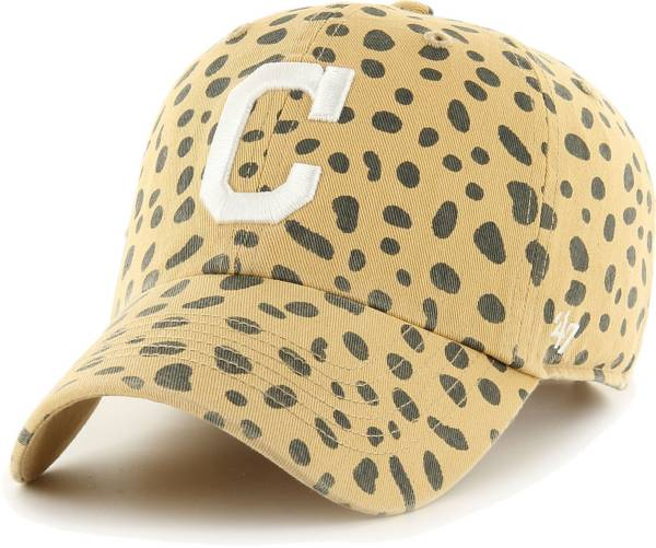 '47 Women's Cleveland Indians Tan Cheetah Print Clean Up Adjustable Hat product image