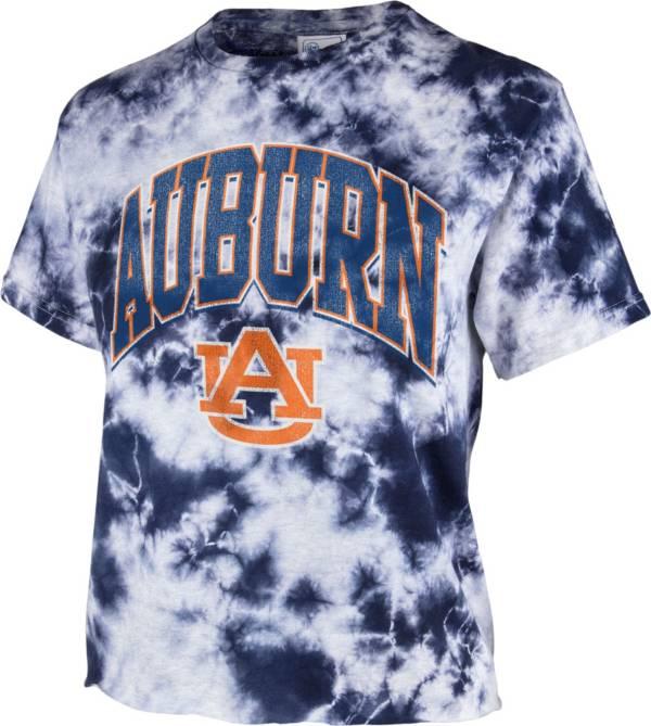 '47 Women's Auburn Tigers Blue Cropped Tie-Dye T-Shirt product image