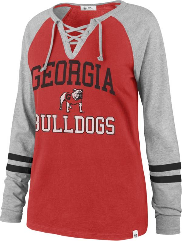 '47 Women's Georgia Bulldogs Red Lace-Up Long Sleeve T-Shirt product image