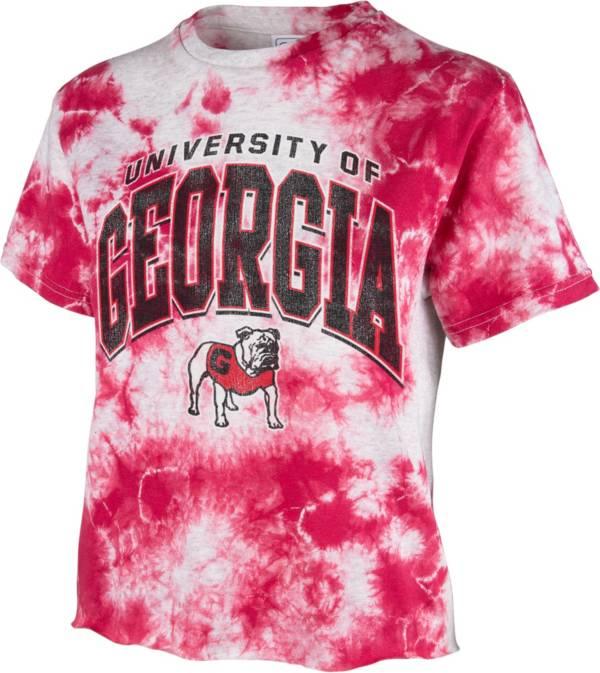 '47 Women's Georgia Bulldogs Red Cropped Tie-Dye T-Shirt product image