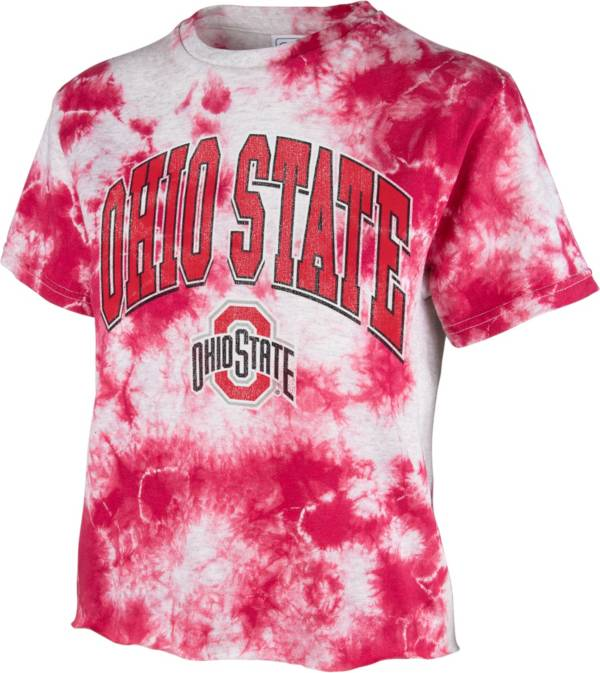 '47 Women's Ohio State Buckeyes Scarlet Cropped Tie-Dye T-Shirt product image