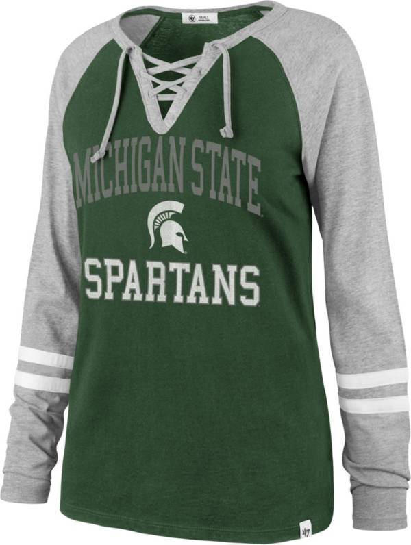 '47 Women's Michigan State Green Lace-Up Long Sleeve T-Shirt product image