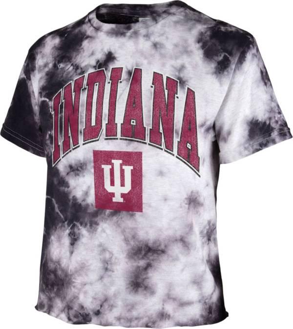 '47 Women's Indiana Hoosiers Black Cropped Tie-Dye T-Shirt product image
