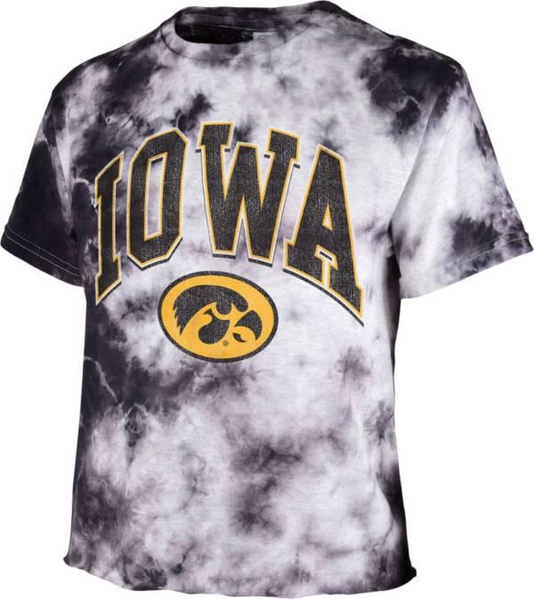 '47 Women's Iowa Hawkeyes Black Cropped Tie-Dye T-Shirt product image