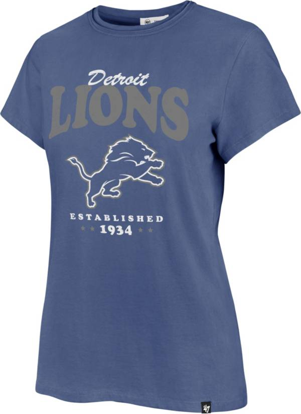 '47 Women's Detroit Lions Rally Cry Throwback Blue T-Shirt product image