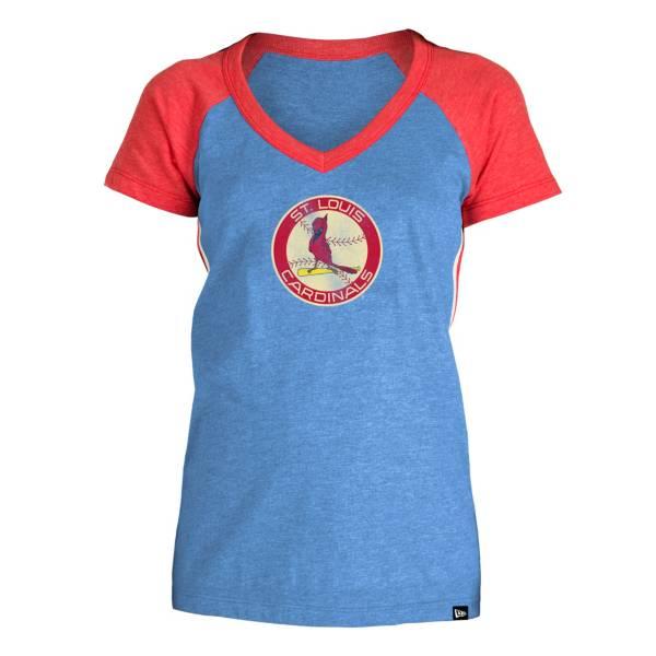 5th & Ocean Women's St. Louis Cardinals Royal Raglan Tri-blend V-Neck T-Shirt product image