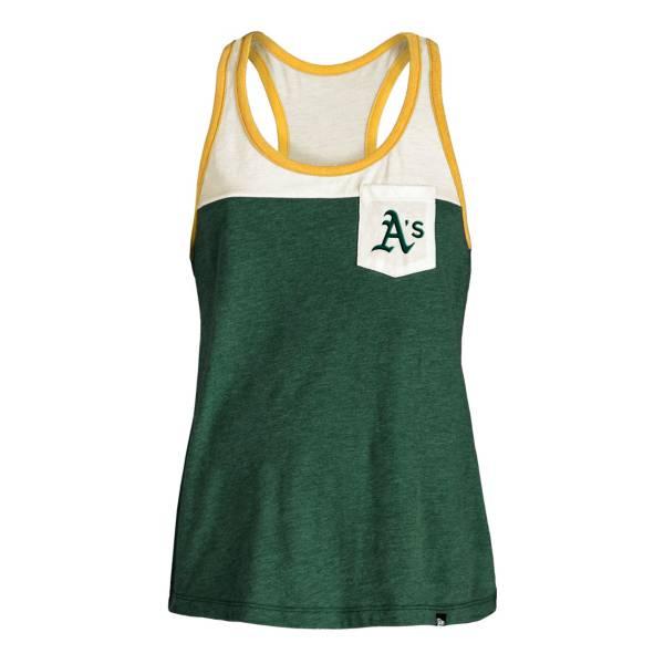 5th & Ocean Women's Oakland Athletics Green Raglan Tri-blend Pocket Tank Top product image
