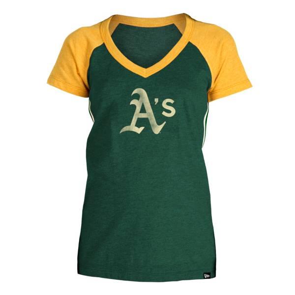 5th & Ocean Women's Oakland Athletics Green Raglan Tri-blend V-Neck T-Shirt product image
