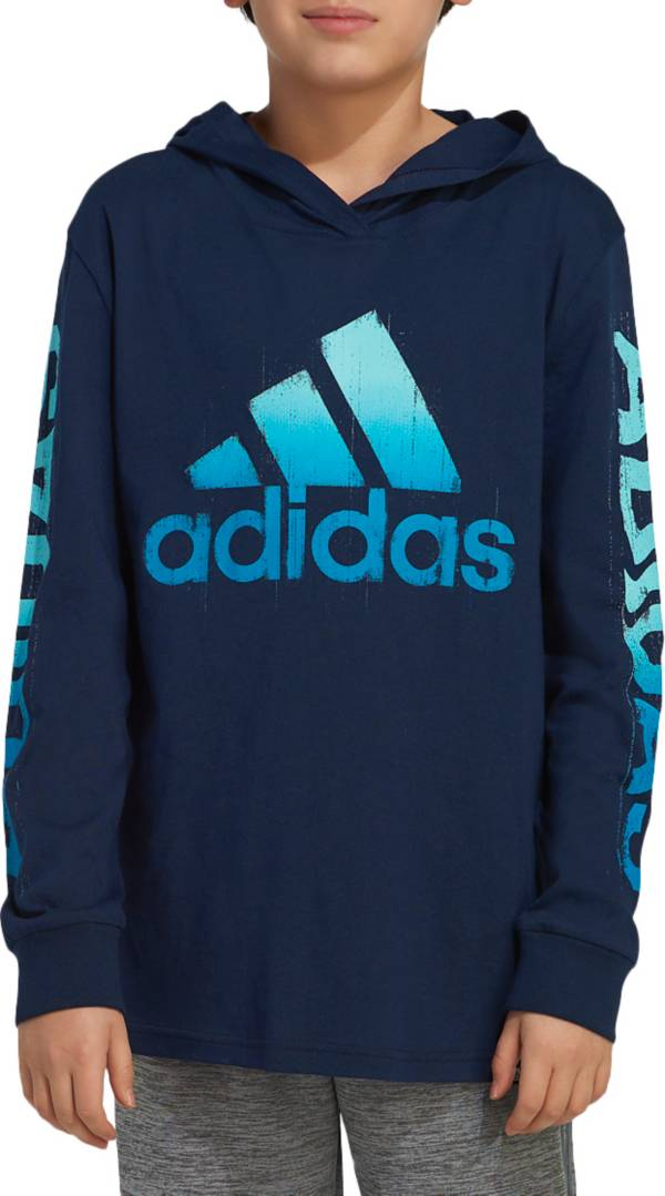 adidas Boys' Long Sleeve Adi Warp Hooded T-Shirt product image