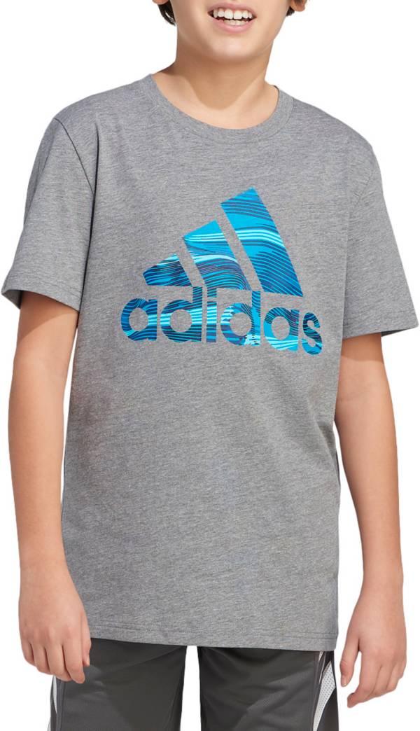 adidas Boys' Short Sleeve Camo Badge Of Sport Heathered T-Shirt product image