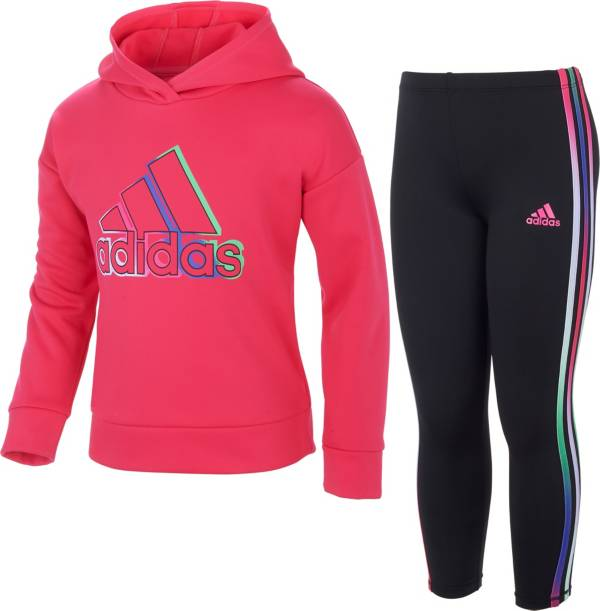 adidas Toddler Girls' Fleece Pullover Hoodie and Tights Set product image