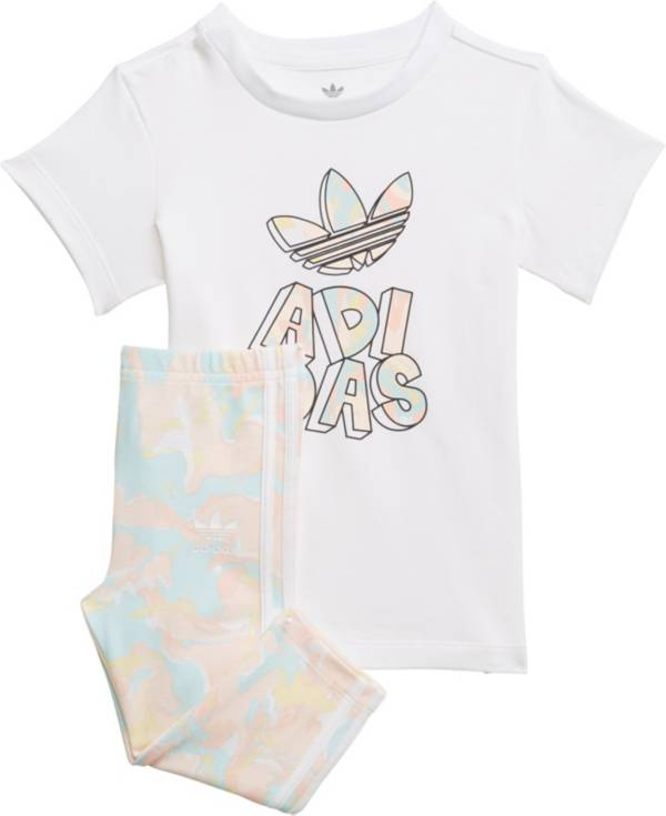 adidas Toddler Girls' Marble Print T-Shirt Dress and Tights Set product image