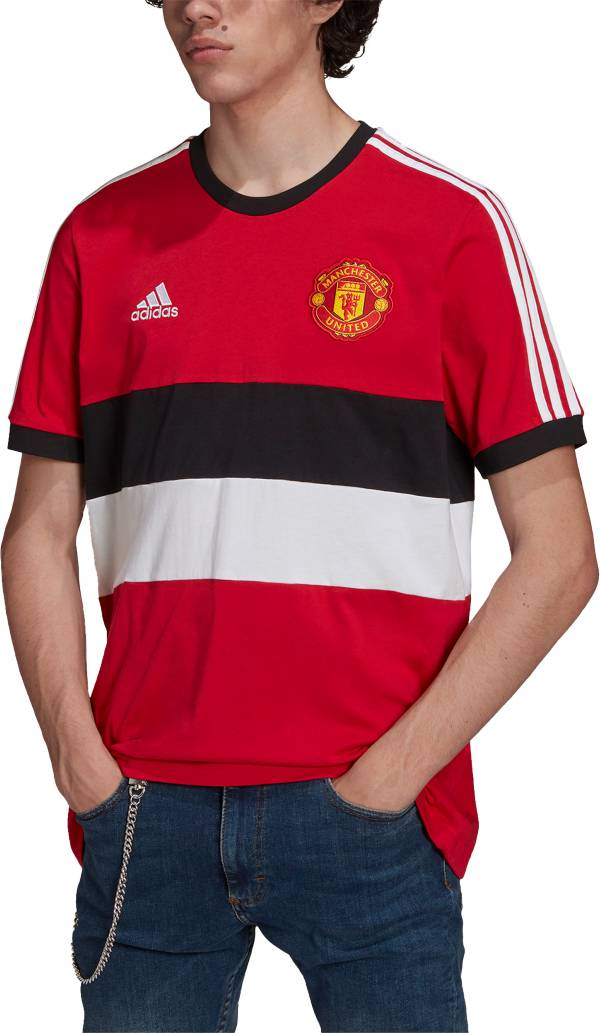 adidas Men's Manchester United 3-Stripe Red Track T-Shirt product image