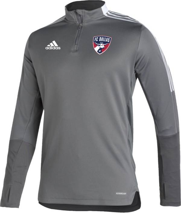 adidas Men's FC Dallas Grey Training Quarter-Zip Pullover Shirt product image