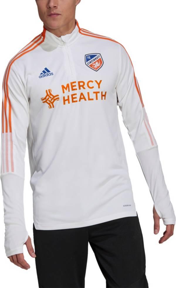 adidas Men's FC Cincinnati White Training Quarter-Zip Pullover Shirt product image
