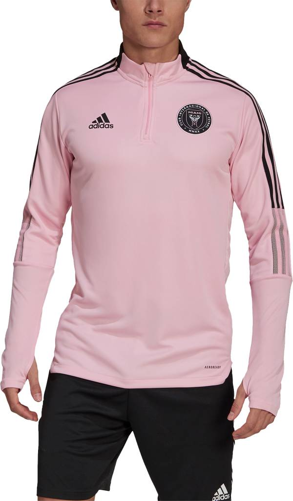 adidas Men's Inter Miami CF Pink Training Quarter-Zip Pullover Shirt product image