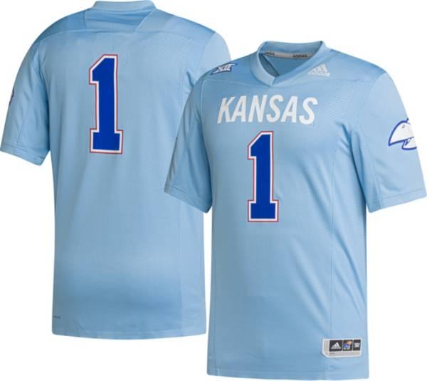 adidas Men's Kansas Jayhawks #1 Blue 'Hail to Old KU' Reverse Retro Replica Football Jersey product image