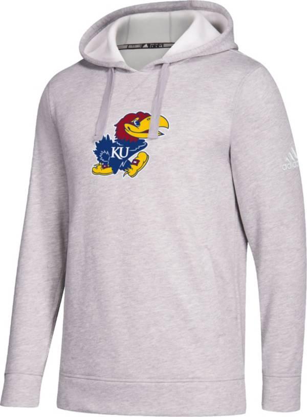 adidas Men's Kansas Jayhawks Grey Logo Fleece Pullover Hoodie product image