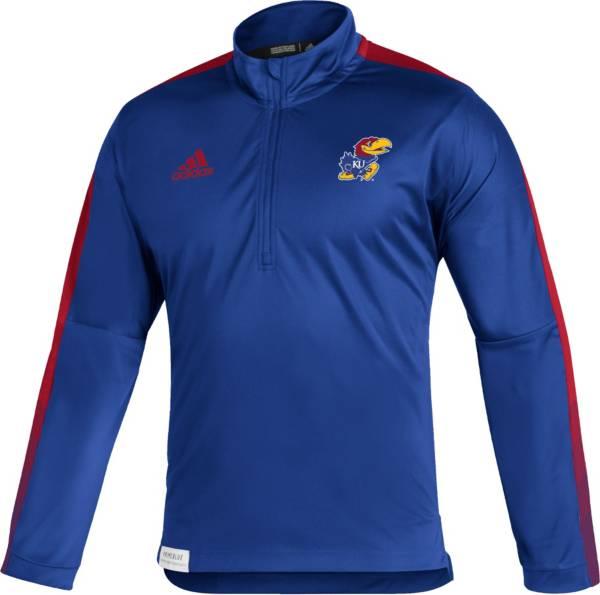 adidas Men's Kansas Jayhawks Blue Locker Room Quarter-Zip Pullover Shirt product image