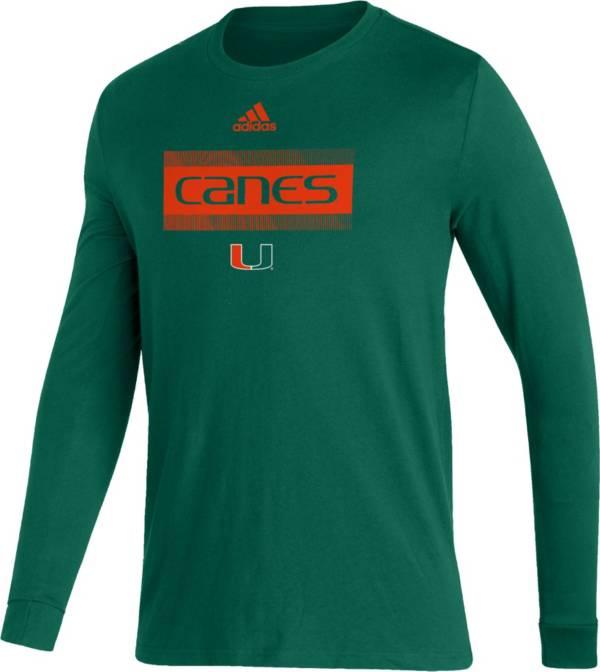adidas Men's Miami Hurricanes Green Amplifier Locker Room T-Shirt product image