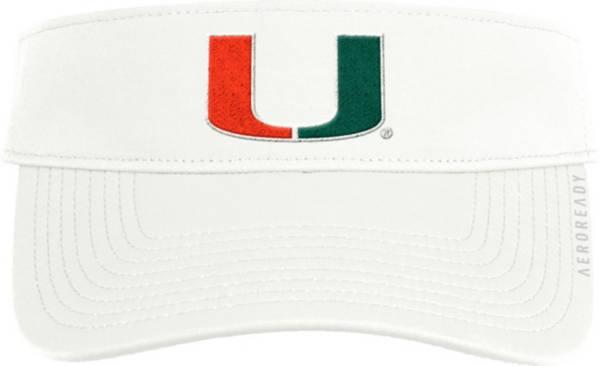 adidas Men's Miami Hurricanes Coach Thin Adjustable White Visor product image