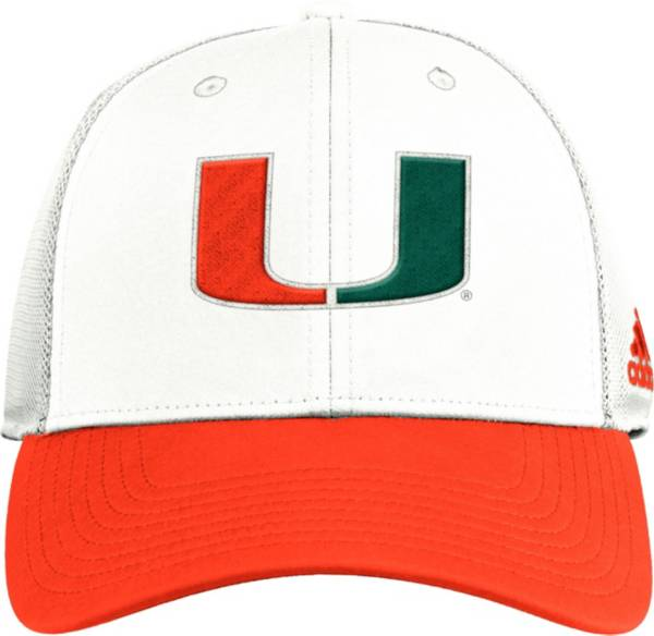 adidas Men's Miami Hurricanes White Reverse Retro Trucker Adjustable Hat product image