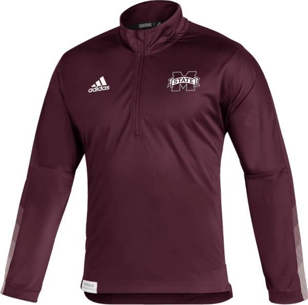 adidas Men's Mississippi State Bulldogs Maroon Locker Room Quarter-Zip Pullover Shirt product image