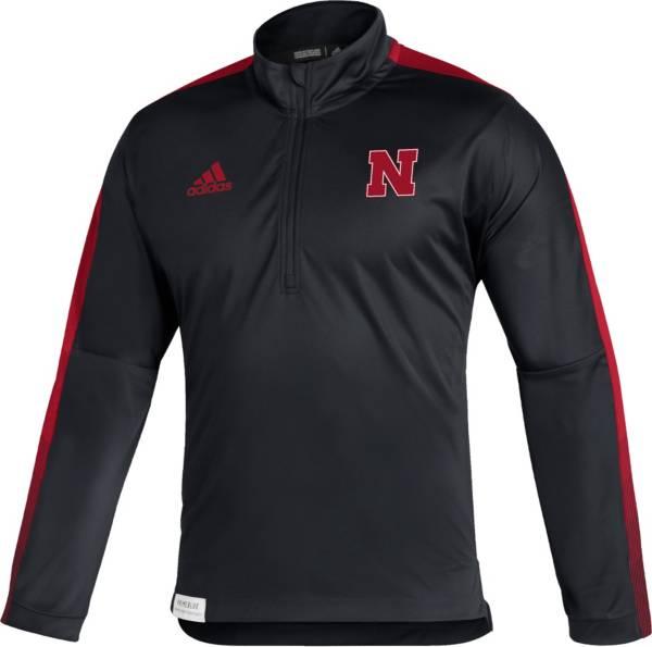 adidas Men's Nebraska Cornhuskers Black Locker Room Quarter-Zip Pullover Shirt product image