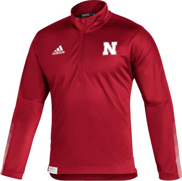 adidas Men's Nebraska Cornhuskers Scarlet Locker Room Quarter-Zip Pullover Shirt product image