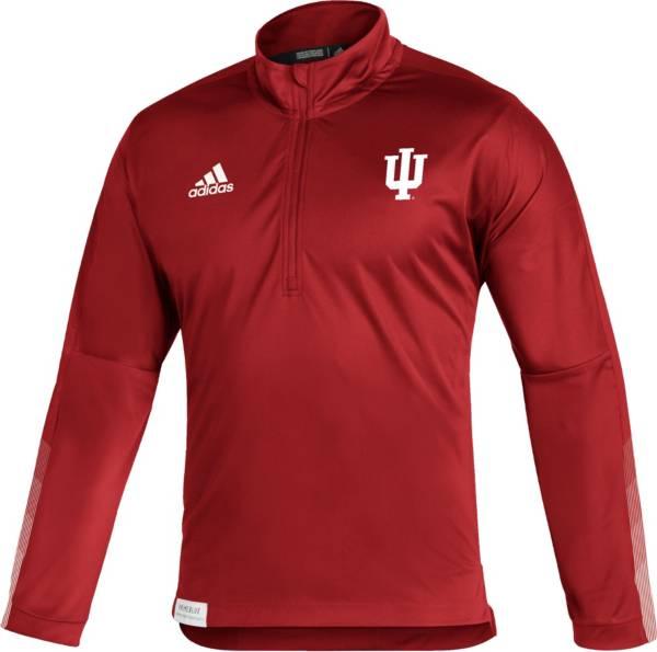 adidas Men's Indiana Hoosiers Crimson Locker Room Quarter-Zip Pullover Shirt product image